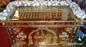Рака с мощами 115 угодников Божиих в храме святой Матроны в Майами