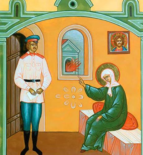 Святая блаженная Матрона пророчествует стражу об огне. Икона святая праведная блаженная Матрона Московская с житием