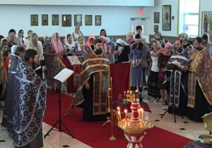 В Крестопоклонную неделю в храме святой Матроны было совершено Таинство Соборования